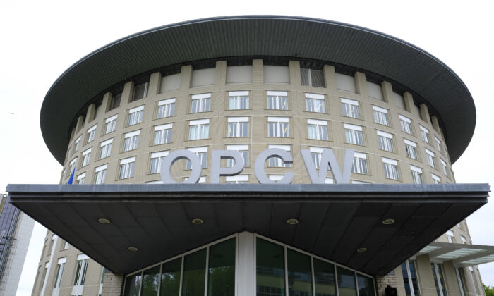 The headquarters of the Organization for the Prohibition of Chemical Weapons (OPCW) is seen in Hague, Netherlands, on May 5, 2017. (Peter Dejong/AP Photo)
