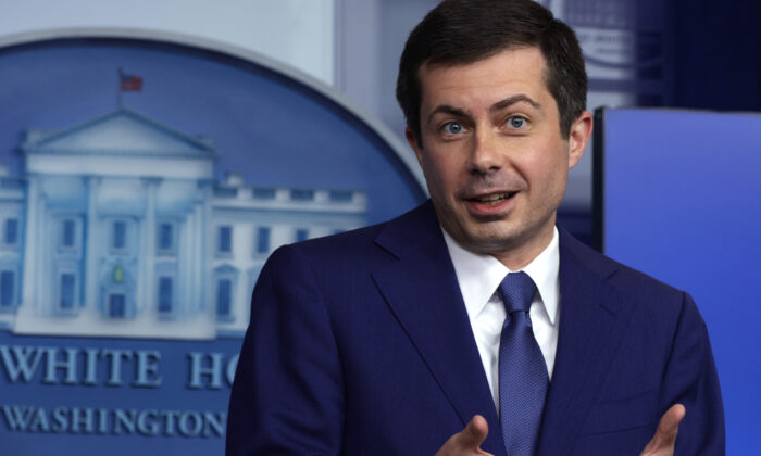 U.S. Secretary of Transportation Pete Buttigieg speaks during a daily press briefing at the White House on April 9, 2021. (Alex Wong/Getty Images)