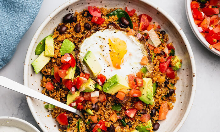 This vegetarian taco bowl swaps the ground beef for nutty, protein-packed quinoa. (Shelly Westerhausen/TNS)