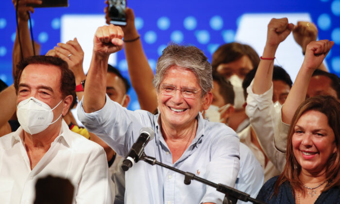 Guillermo Lasso, presidential candidate of Creating Opportunities party, CREO, speaks to supporters after a presidential runoff election at his campaign headquarters in Guayaquil, Ecuador, on April 11, 2021. (Angel Dejesus/AP Photo)
