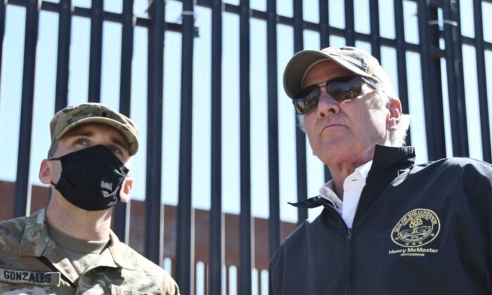 Gov. Henry McMaster is seen in Texas near the U.S.-Mexico border wall on April 10. (Office of Gov. Henry McMaster)