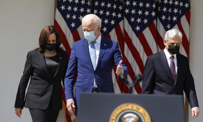 President Joe Biden (C), Vice President Kamala Harris, and Attorney General Merrick Garland arrive to deliver remarks on gun violence prevention in the Rose Garden of the White House on April 8, 2021. (Yuri Gripas/Abaca Press/TNS)