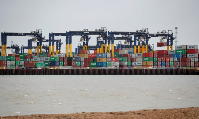 Containers are stacked at the Port of Felixstowe, Britain, on Jan. 28, 2021. (Peter Cziborra/Reuters)
