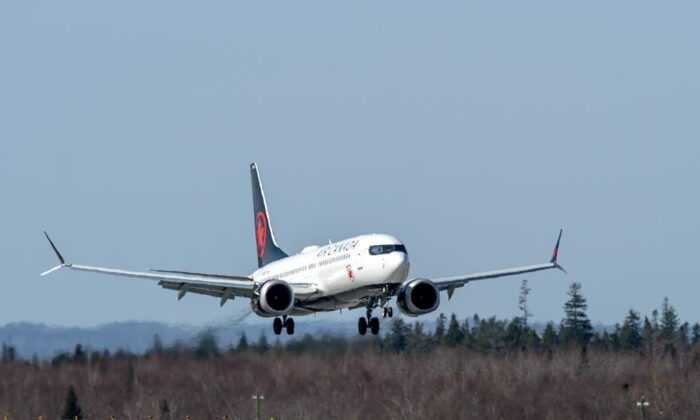 An Air Canada Boeing 737 MAX 8 jet arrives at Halifax Stanfield International Airport on April 9, 2021. (THE CANADIAN PRESS/Andrew Vaughan)