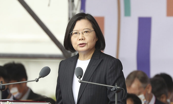Taiwanese President Tsai Ing-wen delivers a speech during National Day celebrations in front of the Presidential Building in Taipei, Taiwan on Oct. 10, 2020. (Chiang Ying-ying/AP Photo)