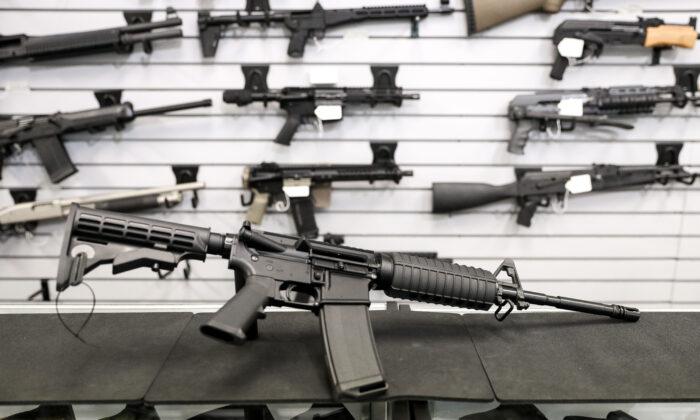 A rifle at a gun shop in Richmond, Va., on Jan. 13, 2020. (Samira Bouaou/The Epoch Times)