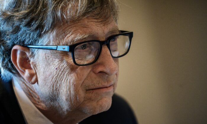 Microsoft founder, co-chairman of the Bill & Melinda Gates Foundation, Bill Gates, takes part in a conference call in Lyon, France, on Oct. 9, 2019. (Jeff Pachoud/AFP via Getty Images)
