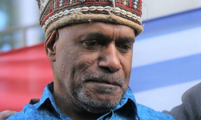 West Papua activist Benny Wenda at a protest in London, on October 18, 2019. (Isabel Infantes / AFP via Getty Images)