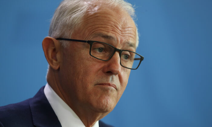 Former Prime Minister Malcolm Turnbull speaking to press (Sean Gallup/Getty Images)