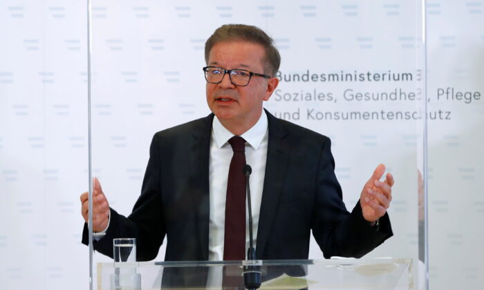 Austrian Health Minister Rudolf Anschober attends a news conference in Vienna, Austria, on April 13, 2021. (Leonhard Foeger/Reuters)