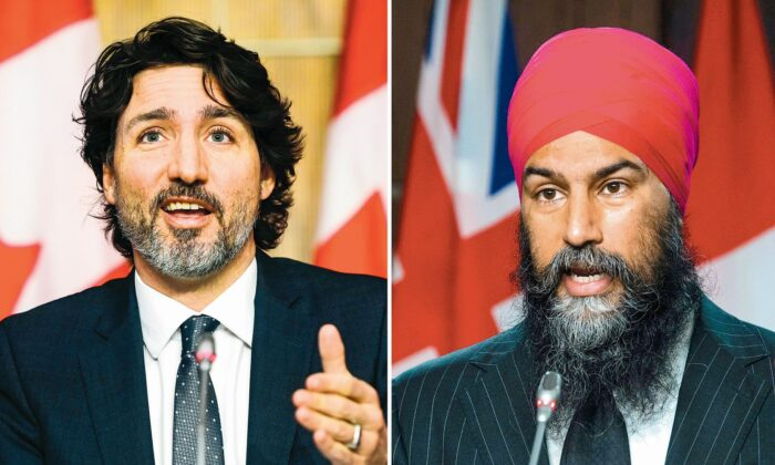 (L) Prime Minister Justin Trudeau during a news conference in Ottawa on March 9, 2021. (The Canadian Press/Sean Kilpatrick) (R) NDP leader Jagmeet Singh during a news conference in Ottawa on April 13, 2021. (The Canadian Press/Adrian Wyld)