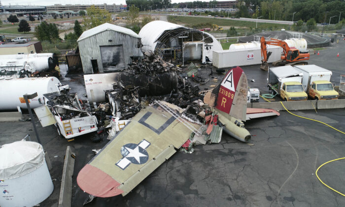 Damage from a World War II-era B-17 bomber plane that crashed at Bradley International Airport in Windsor Locks, Conn., on Oct. 2, 2019. (NTSB/File Photo via AP)