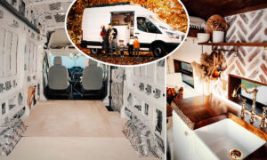 Parents Transform Ford Transit Van Into Fully Equipped Tiny 'Cottage' Home for Family Trip