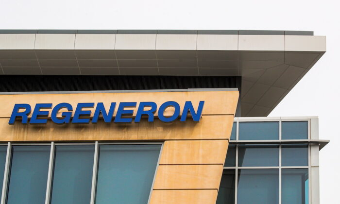 The Regeneron Pharmaceuticals company logo is seen on a building at the company's Westchester campus in Tarrytown, New York, on Sept. 17, 2020. (Brendan McDermid/Reuters)