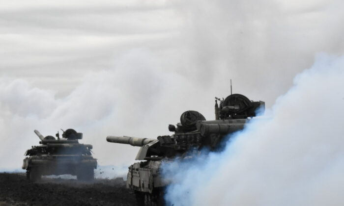 Tanks of the Ukrainian Armed Forces are seen during drills at an unknown location near the border of Russian-annexed Crimea, Ukraine, on April 14, 2021. (Press Service General Staff of the Armed Forces of Ukraine/Handout via Reuters)