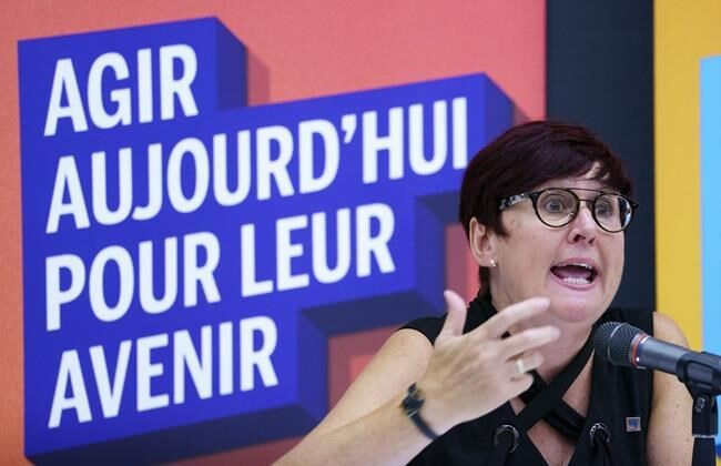 Josee Scalabrini, president of the Federation des syndicats de l'enseignement, responds to a question during a news conference in Montreal, on August 24, 2020. (Paul Chiasson/The Canadian Press)
