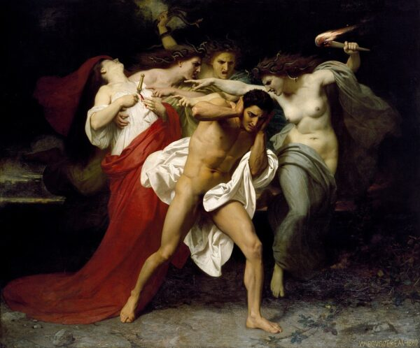 """""""Orestes Pursued by the Furies,"""" 1862, by William-Adolphe Bouguereau. Oil on Canvas, 91 inches by 109 ⅝ inches. Chrysler Museum, Norfolk, Va. (Public Domain)"""