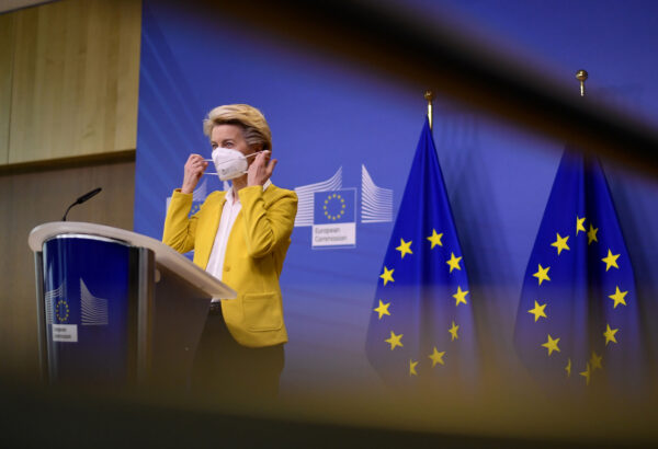 European Commission President Ursula von der Leyen delivers a statement after a meeting of the college of commissioners at EU headquarters in Brussels