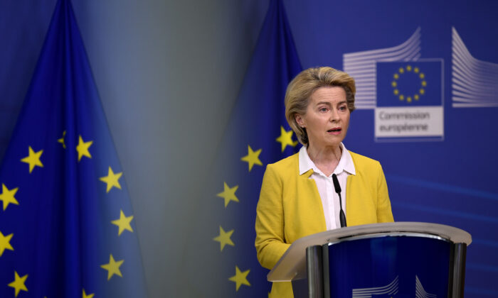 European Commission President Ursula von der Leyen delivers a statement after a meeting of the college of commissioners at EU headquarters in Brussels, on April 14, 2021. (John Thys/Pool via AP)