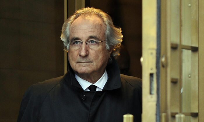 Bernard Madoff leaves US Federal Court after a hearing regarding his bail in New York City, on Jan. 14, 2009. (Timothy A. Clary/AFP via Getty Images)