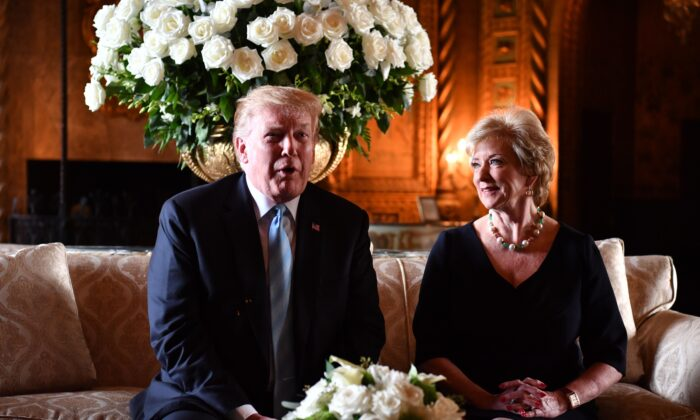 U.S. President Donald Trump speaks at a press conference with Linda McMahon, head of Small Business Administration at Trump's Mar-a-Lago estate in Palm Beach, Fla., on March 29, 2019. (Nicholas Kamm/AFP via Getty Images)