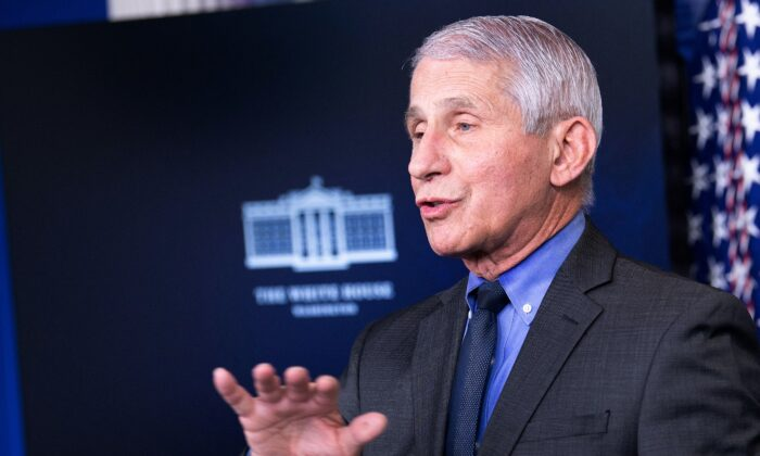 Dr. Anthony Fauci, director of the National Institute of Allergy and Infectious Diseases, speaks to reporters at the White House in Washington on April 13, 2021. (Brendan Smialowski/AFP via Getty Images)