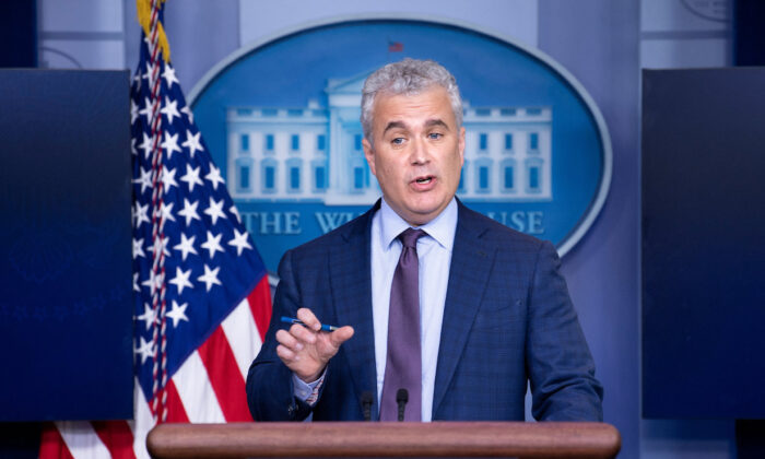 Jeff Zients, the White House's COVID-19 response czar, speaks during a press briefing at the White House on April 13, 2021. (Brendan Smialowski/AFP via Getty Images)
