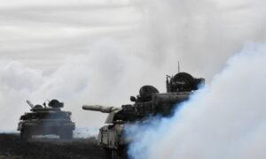 Ukraine Rehearses Repelling Tank Attack Near Russian-Annexed Crimea