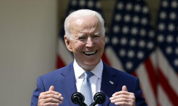 President Joe Biden in the Rose Garden of the White House, on April 8, 2021. (Yuri Gripas/Abaca Press/TNS)