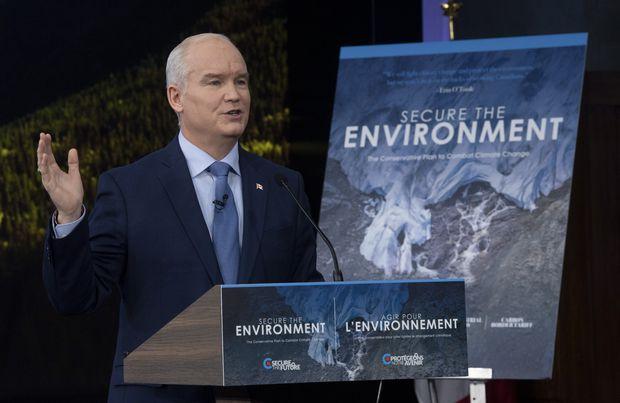 Conservative Leader Erin O'Toole gestures during an announcement in Ottawa on April 15, 2021. (Adrian Wyld/The Canadian Press)
