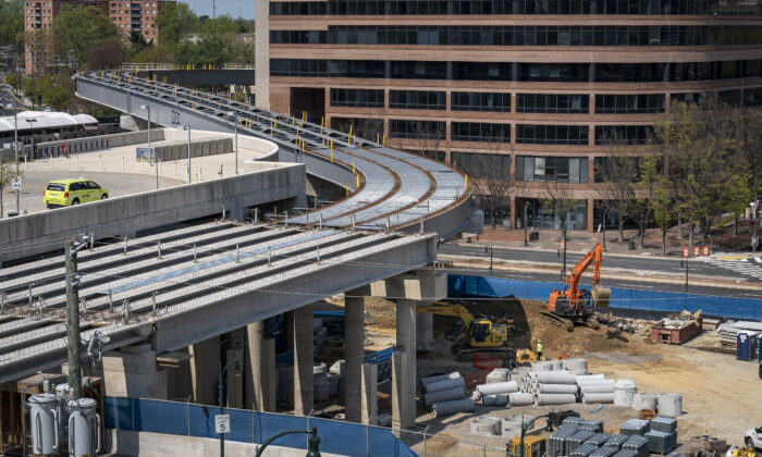 Construction continues near unfinished Purple Line rail tracks at the Paul Sarbanes Transit Center in Silver Spring, Maryland on April 8, 2021. (Drew Angerer/Getty Images)