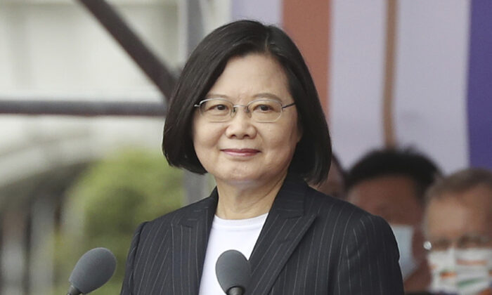 Taiwanese President Tsai Ing-wen delivers a speech during National Day celebrations in front of the Presidential Building in Taipei on Oct. 10, 2020. (Chiang Ying-ying, File/AP Photo)