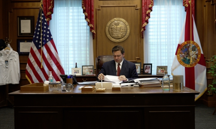 Florida Gov. Ron DeSantis in his office in Tallahassee, Fla., on April 1, 2021. (Screenshot/Epoch Times)