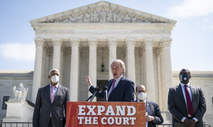 (L-R) Rep. Hank Johnson (D-Ga.), Sen. Ed Markey (D-Mass.), House Judiciary Committee Chairman Rep. Jerrold Nadler (D-N.Y.) and Rep. Mondaire Jones (D-N.Y.) hold a press conference in front of the U.S. Supreme Court on April 15, 2021. (Drew Angerer/Getty Images)