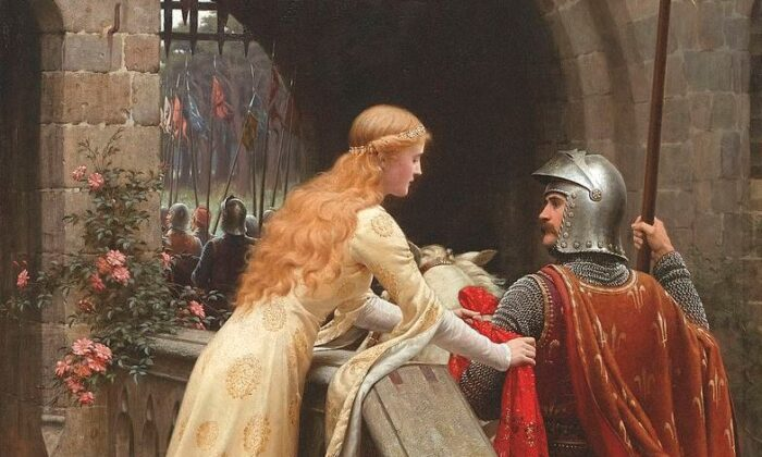 "Is chivalry dead? A detail from ""God Speed"" by Edmund Leighton, 1900. (Public Domain)"