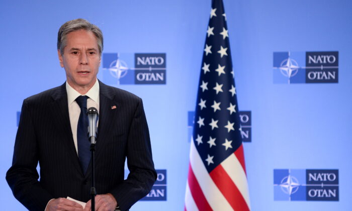 Secretary of State Antony Blinken delivers a statement as he meets with NATO Secretary General Jens Stoltenberg in Brussels, Belgium, on April 14, 2021.  (Johanna Geron/Reuters)