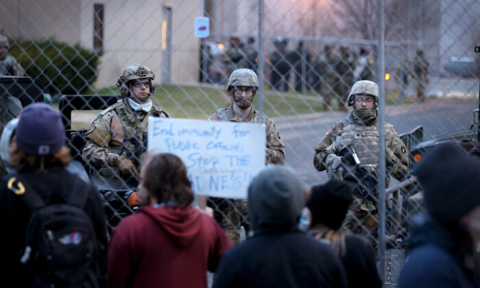 Demonstrators protest outside of the Brooklyn Center Police Department in Brooklyn Center, Minn., on April 15, 2021. (Scott Olson/Getty Images)