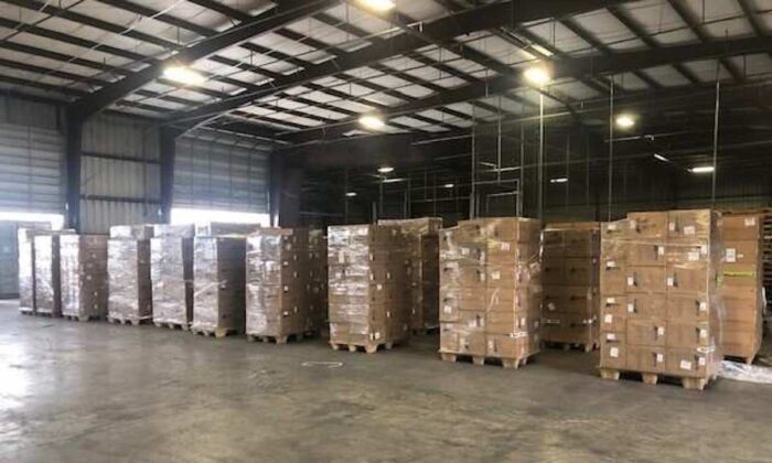 A shipment of over 170,000 fake N95 respirator masks at Houston Seaport, Texas, on April 7, 2021. (Customs and Border Protection)