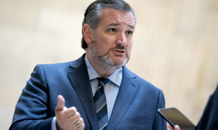 U.S. Sen. Ted Cruz (R-Texas) speaks to reporters prior to the Senate Republican luncheons at the Russell Senate Office Building on Capitol Hill on April 13, 2021 in Washington, DC. (Stefani Reynolds/Getty Images)