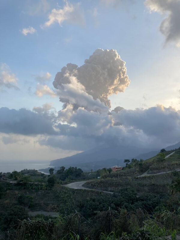 Plumes of ash rise from the La Soufriere volcano