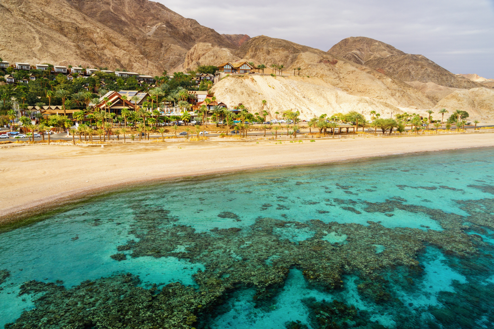Coral,Reef,Of,Aqaba,Bay,In,Red,Sea,,Empty,Beach