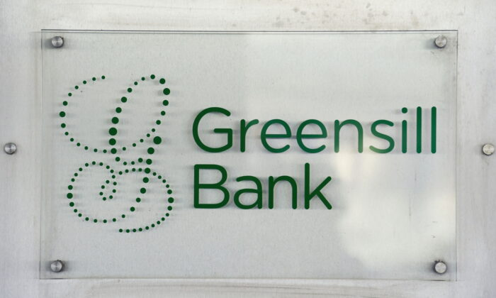 The logo of  Greensill Bank is pictured in downtown Bremen, Germany, on July 3, 2019. (Fabian Bimmer/Reuters)