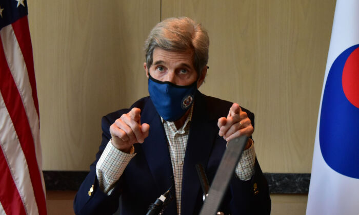 The United States Special Presidential Envoy for Climate John Kerry speaks during a press conference in Seoul, South Korea, on April 18, 2021. (U.S. Embassy Seoul via Getty Images)