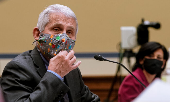 Anthony Fauci, director of NIAID and chief medical advisor to the president, testifies at a hearing in Washington on April 15, 2021. (Amr Alfiky/Pool/Getty Images)