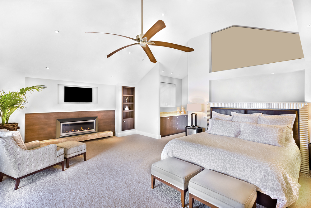 Modern,Bed,Area,Including,Furniture,,Television,Is,Attached,To,Wall,