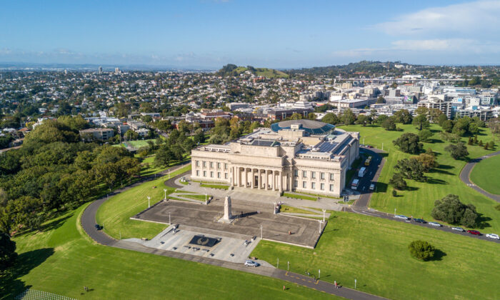 An aerial view of the Auckland War Memorial Museum, in Auckland, New Zealand. (krug_100/Shutterstock)