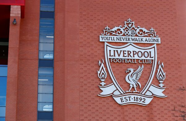 General view of the Liverpool logo on Anfield