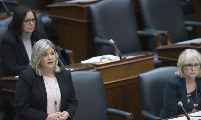 NDP leader Andrea Horwath questions Ontario Premier Doug Ford (not shown) in the legislature at Queen's Park in Toronto on May 12, 2020. (Nathan Denette / The Canadian Press)