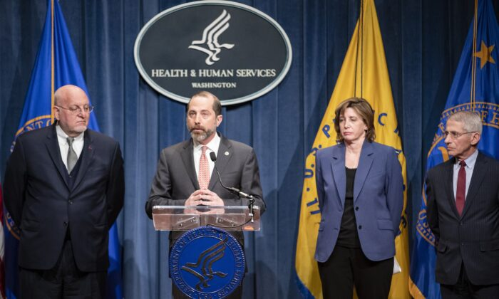 Health and Human Services Secretary Alex Azar speaks during a press conference on the coordinated public health response to the CCP virus outbreak on Jan. 28, 2020, in Washington, D.C. With Secretary Alex Azar is (from left to right) Centers for Disease Control and Prevention Director Robert Redfield, National Center for Immunization and Respiratory Diseases Director Nancy Messonnier, and National Institute of Allergy and Infectious Diseases Director Anthony Fauci. (Samuel Corum/Getty Images)