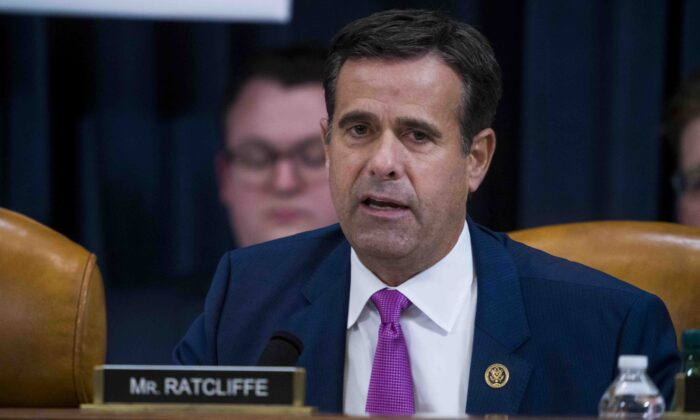 Then-Rep. John Ratcliffe (R-Texas) questions Intelligence Committee Minority Counsel Stephen Castor and Intelligence Committee Majority Counsel Daniel Goldman during the House impeachment inquiry hearings on Dec. 9, 2019. (Doug Mills/AFP via Getty Images)